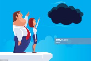 vector illustration of business couple waving to black cloud
