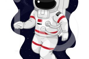 astronaut on cable clipart 2