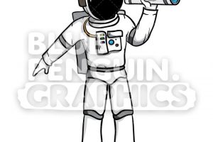 astronaut on cable clipart 3
