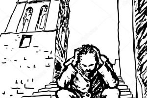 homeless beggar clipart black and white 4