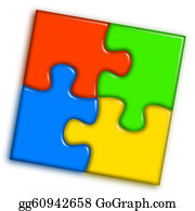 multi-color jigsaw puzzle human head clipart 2