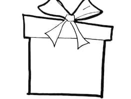 outline christmas present clipart black and white 1