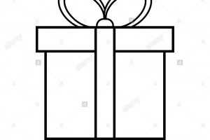 outline christmas present clipart black and white 2