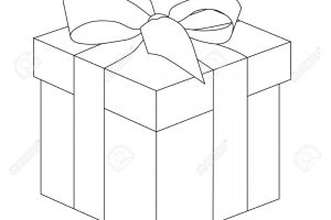 Gift box outline. Present for christmas or birthday. Vector illustration