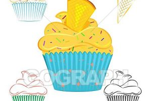 outline design cupcake clipart 4