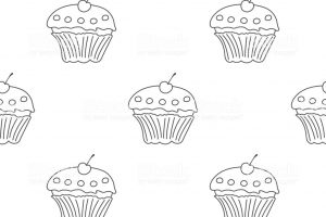 outline design cupcake clipart 7