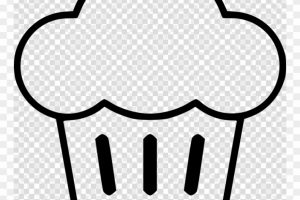 outline design cupcake clipart 8