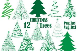 row of christmas trees clipart 4