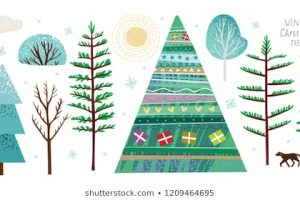 snow on bushes clipart 5