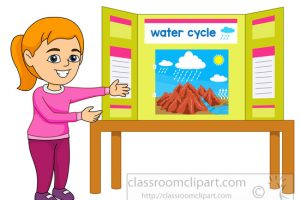 student displays her science fair project clipart