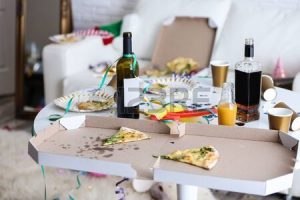 untidy apartment with empty bottles and boxes of pizza – clipart 2