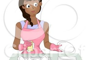 woman doing dishes clipart