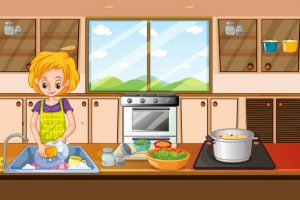 woman doing dishes clipart 2