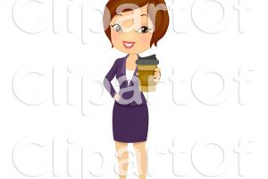 woman holding coffee cup clipart 1