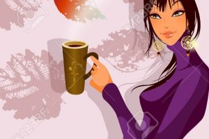 woman holding coffee cup clipart 2