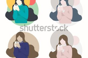 woman holding coffee cup clipart 6