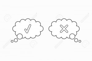 Vector icon concept of two thougt bubbles with check mark and x
