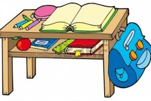 students near desk clipart
